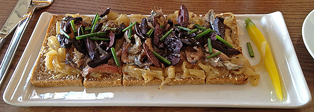Chocolate Lab lunch special: Anchovy/olive/onion tartine