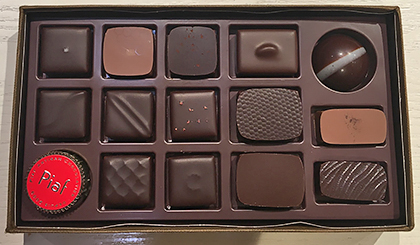 Piaf Chocolatier chocolates in box